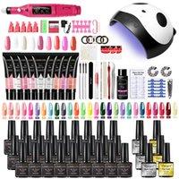 Nail Art Kits Set Gel Polish And Drill Machine Kit With UV LED Lamp Manicure Tools Builder