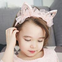 Аксессуары для волос Милые кошки уши кружева блесток головы горный хрусталь для волос девочек девочки дети голова украшения