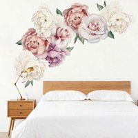 Wall Stickers Chinese Style Peony Sticker Rose Flower For Living Room Bedroom Decals Mural Art Poster DIY Home Decoration Wallpaper
