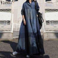 Повседневные платья осенью сарафан Zanzea старинные клетки проверено длинные рубашки платье халат женские ослабесы шеи рукава кафтана Vestido Femme Plus размер
