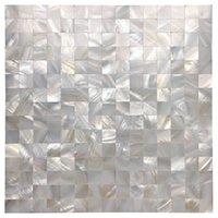 Art3D 30x30cm 3D Muurstickers Witte Naadloze Moeder van Parel Tegel Shell Mozaïek voor Badkamer / Keuken Backsplashes (6-Piece)