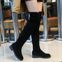 Boots Spring Autumn Women Over-the-Knee Flats Flock Shoes Woman Fashion Casual Plus Size 35-41 Thigh High