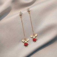 necklace Earrings Cute Little Mouse Sier Needle, Benmingnian Cat's Eye, Diamond Earrings, Fashion Women's Sweater Chain