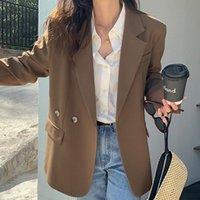 Solide strukturierte Anzüge Jacke Frauen Koreanisch Einfache Lose langärmelige Anzug Frau Single Button Temperament Lady 2021 Blazer