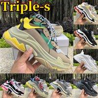 Triple S Crema Amarillo Rojo Triple Negro Hombres Mujeres Zapatos de plataforma Moda barata Zapatos de lujo Zapatillas Zapatillas Tamaño 36-45