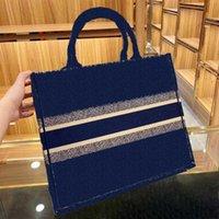 고전적인 브랜드 럭셔리 3A 품질 41.5 cm 블루 쇼핑백 수 놓은 캔버스 대용량 높은 핸드백 아가씨 실크 스카프와 아가씨 가방