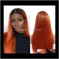 منتجات انخفاض التسليم 2021 برتقالي ملون الشعر البشري 4x4 إغلاق شعر مستعار مستقيم البرازيلي ريمي 1b / 350 غلويليس الباروكات للنساء السود أومبير براي