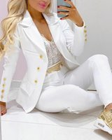 Women's Two Piece Pants Blazer Pant Suits Set Women Business Office Matching Outfits White Red Pink Yellow Black 2021fall Clothes For
