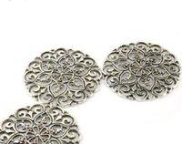 2021 12 pçs / lote, DIY jóias lenço achados mentais liga de zinco rodada placa de encanto pingente de flor acessórios, grátis