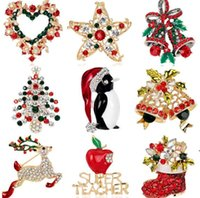 Party Favor Wholesale Colorful Crystal Rhinestone Christmas tree Pin Brooch Xmas gifts Jewelry Fashion Apparel brooches EWF10189