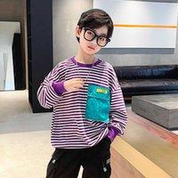 Boys Long Sleeve Sweatshirt Children Striped Letter Print O-neck Pullover Autumn Spring T- Shirt Teen Boys Cotton Tops 4 6 8 10y G0908