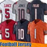 1 Justin Fields Jersey 10 Mac Jones 5 Trey Lance Jerseys San New Chicagos Franciscos إنجلترا الدب باتريوت لكرة القدم