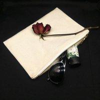 1pc blanc 12 oz sac cosmétique en toile de coton naturel avec 5 # or métal zip plaine noir / blanc / maquillage naturel pour DIY UML1 4R3O