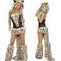 Sexy leopard estampado peludo disfraz de halloween cos catwomen gato / lobo / leopardo club nocturno ropa fiesta de desgaste de la Navidad regalo