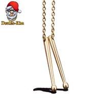 Drum Stick Pendant Necklace Men Hip-Hop RAP Street Culture Titanium Stainless Steel Gold Silver Color Jewelry Gift Chains