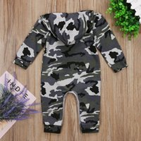 Fall Spring Born Infant Baby Boy Kids Romper Camo Jumpsuit Hoodie Playsuit Clothes Outfit 0-24 Months Jumpsuits