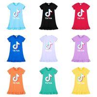 Tiktok Letters Printed Children's Skirt Summer Girls Short Sleeve Candy Colors Princess Dresses Tik Tok Casual Fashion Baby Kids Skirt Clothes G72NOBW