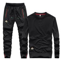 Men's Tracksuits 2021 Autumn Embroidered Fashion Pant O-neck Long Sleeved Casual Suit Tracksuit Men Track Two Piece Streetwear Clothes Sweat