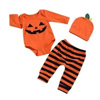 Halloween Baby Three-piece Suit CLothes Cotton Jumpsuit+ Trousers + Hat Pumpkin Set Ins Infant Boys And Grils Winter Warm Clothing G902KYN