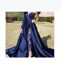 One Shoulder Long Sleeve Prom Dresses Pant Suits A Line Graduation Dresses Dark Navy Split Evening Party Gowns Jumpsuit Celebrity Dresses