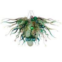 Lampadario in vetro verde illuminazione lampada a sospensione di lusso a mano moderna bolle bolle e torsioni artistiche luci decorazione dell'arte per lobby hotel 70 per 60 cm