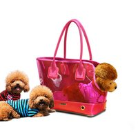 Dog Travel Carrying Handbag Pet Bag Non-Toxic Clear PVC and Red Synthetic Dog Carrier Purse Pet Travel Bag Cat Portable Handbag