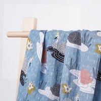 الطفل swaddling الرضع التفاف القماش بطانية المطبوعة حمام منشفة الكرتون الحيوان نمط البطانيات الربيع والصيف musllin الوليد البحر EWC7391