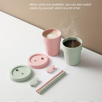 Mugs 410mL Silicone Coffee Cup Sealed Leak-proof With Straw Multipurpose Travel Thermo Water Bottler Thermocup For Gifts