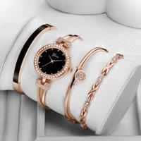 المعصم 4 قطع مجموعة ginave ووتش النساء روز الذهب الماس سوار المجوهرات الفاخرة السيدات الإناث فتاة ساعة عارضة الكوارتز