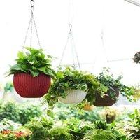 OOTDY Schöne runde Kunststoff Blumentopf Garten Pflanze Kette Gewebe Wicker Hängende Pflanzgefäße Balkon Dekoration 1331 v2