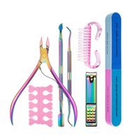 Nail Art Kits 7pcs set Beauty Manicure Cutter Rainbow Clippers Dead Skin Gel Polish Remover Cuticle Pusher Care Tool