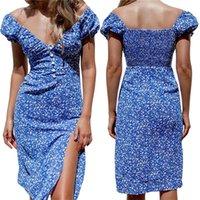 Casual Dresses Women Short Sleeve Dress Vintage Floral Button V-neck High Waist Split Mid-length Ladies Pleated