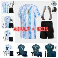 Argentina Soccer Jersey 2021 2022 Kun Aguero Lo Celso Martinez TagliaFico 20 21 Messi Dybala Adulto Men Kids Football Kit Camisa Set Uniformes Socks