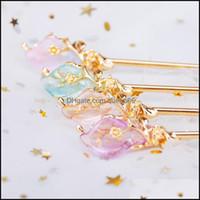 Saç Jewelryhair Klipler Tokalar Klasik Çin Tarzı Firkete Zarif Yaprak Sarma Kristal Toka Altın Renk Metal Takı Kadın Fashio