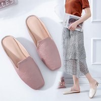 Shoes Slippers Casual Big Size Loafers Slides Low Square Toe Mules For Women 2021 Pantofle Luxury Flat Cover Hoof Heels Sewi