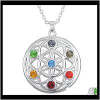 Necklaces & Pendants Jewelry Drop Delivery 2021 Crystal Chakra Fashion Round Necklace Religion Chimera Om Yoga Sanskrit Short Cloak Pendant P