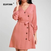 Casual Dresses ELSVIOS 2021 Spring Button Solid Chiffon Dress V-neck Long Sleeve Mini Summer Party Elegant Sashes A-Line Beach