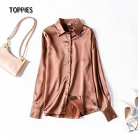 Toppies Women's Shirt Solid Blouse Loose Soft Long Sleeve Officie Ladies Top Temperament Satin Spring Autumn