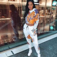 Yiciya Frauen Trainingsanzug 2 Stück Set Plus Size Sweatsuit Frau Oansatz Lässige Druck Langarm Crop Top Und Hosen Weibliche Outfits