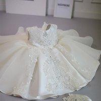 Girl's Abiti Battesimo Bianco Cerimonia Bianco Dress Girl Bordare il 1 ° compleanno Bambino elegante Princess Party Christens Vestidos
