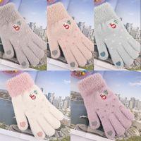 Imitation Fur Touch Screen Gloves Winter Warm Knitted Love Heart Snowman Tree Mittens Christmas Soft Women Gants Wool 6 8dh G2