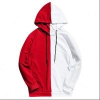 Long Sleeve Mens Hood Womens Hoodies Half Black White Cool Plain Hoddies Men Patchwork Cotton Sweatshirt Male Hoody Fashion