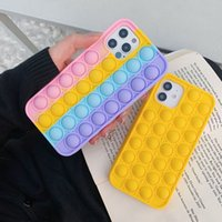Creative Silicone Soft Rainbow Push Phone Cases Bubble Pops It Fidget Case For Iphone 12 MAX PRO XR 11 xsmax