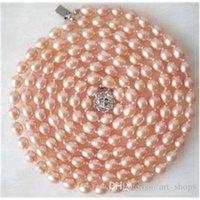7-8mm forma di riso naturale rosa Akoya Collana perla coltivata 34 \