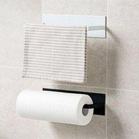 Toilet Paper Holders Morden Wall Mount Tissue Holder Simple Iron Material Towel Hanger Bathroom Kitchen Rack Roll Plastic Wrap