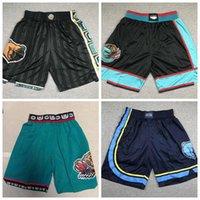 2021 homensMemphis.Grizzlies Basquetebol Shorts Jogadores de desgaste na quadra; Swingman costura homens bordados