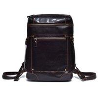 Backpack Brand 100% Genuine Leather Men Backpacks Vintage Real Natural Student Boy Luxury Business Laptop School Bag