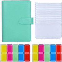 Gift Wrap A6 PU Leather Binder 6-Ring Budget With 12 Pieces Pockets Cash Envelopes, Envelopes
