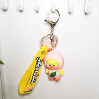 الأزياء الإبداعية الفاكهة بطة pvc مفتاح سلسلة جميل سيليكون مفتاح سلسلة حقيبة الديكور هدية