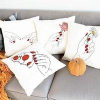 وسادة / وسادة ديكور اليد مع زهرة طباعة وسادة حالة الأحمر الجمالية يغطي الإناث سيارة وسادة حديقة كرسي أريكة رمي الوسائد